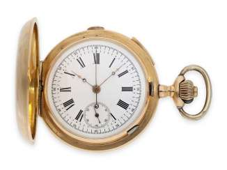 Pocket watch: heavy, red-gold Savonnette with Repetition and Chronograph, and of heavy, rose-gold-plated watch chain, probably A. Lugrin to 1900