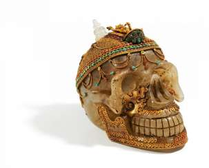 Crystal skull with Vajrapani and Achala