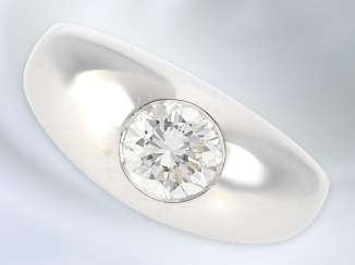 Ring: solid and very high quality vintage brilliant band ring in 14K white gold, brilliant, high-quality, approx. 1ct