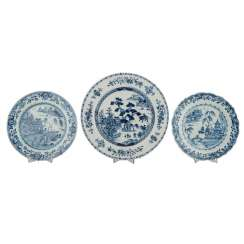 Three blue-and-white porcelain plate. CHINA, 19. Century.