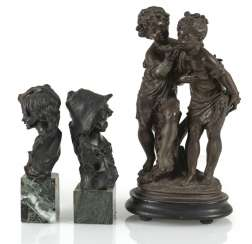 Children Couple, 2 Girl Busts,