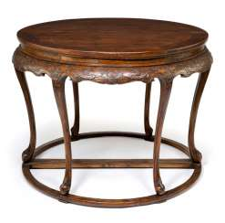 Pair of half round tables made of hard wood with carved Details