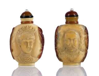 Pair of Hornbill-Snuffbottles with portraits of Queen Victoria and Prince Albert