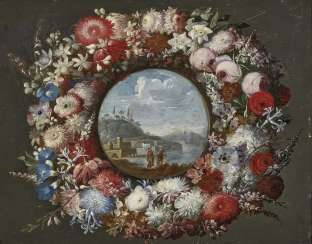 Wreath of flowers with a view of a southern coastal landscape