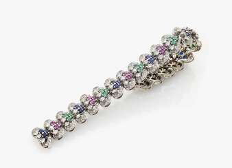 Bracelet with diamonds, sapphires, rubies and emeralds Germany, 1950s