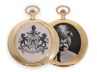 Pocket watch: flat, elegant Gold/enamel-Savonnette in the Cartier style, probably made for the Indian princes,