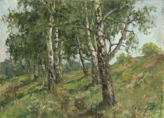 "Birch Trees by the Senezh Lake, signed and dated 1968, also further signed, titled in Cyrillic and dated ""1968 avgust"" on the reverse."