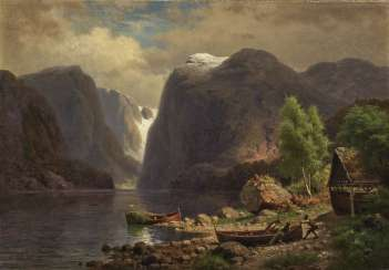 Fjord landscape with figure staffage