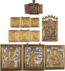 FOUR TRIPTYCHA AND BRONZE ICON WITH THE DEESIS