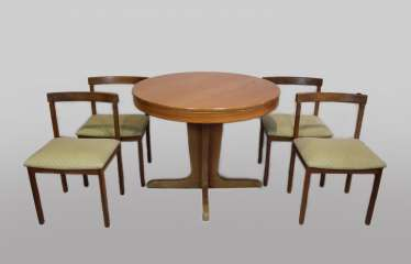 Dining table with four chairs, 1960s