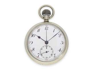Pocket watch: extremely unusual British military watch with 24-h-dial, and the Central 15-minute counter, 40s