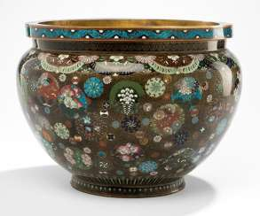 Cloisonne Cachepot with polychrome floral decoration in circular reserves on a black background