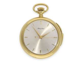 Pocket watch: heavy, very rare 18K pocket watch with minute repeater and a Central second, a work of exquisite quality, Matthey Tissot, 20. Century.