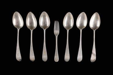 SIX ENGLISH SPOON AND A FORK