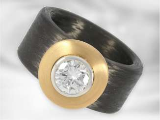 Ring: modern and interesting designers-brilliant-gold forged ring, made of carbon/18K Gold and platinum, great and of high quality solitaire brilliant of approximately 1,03 ct