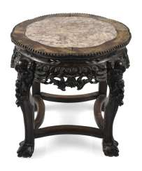 Stool made of hard wood with inlaid stone plate