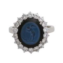 Guardian angel Ring with brilliant-cut diamonds,