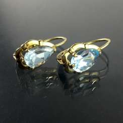 Earrings: Yellow Gold 333 and Topaz, very nice.