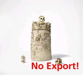 Lidded box with dancing skeletons and skulls