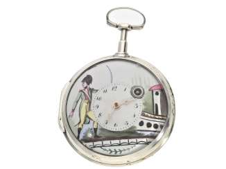 Pocket watch: rare French Spindeluhr with enamel-painting, and a military motif, France, around 1790