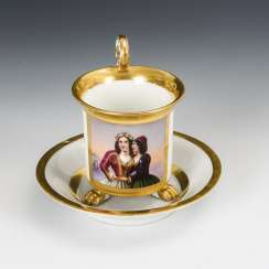Biedermeier cup with a double portrait of a woman