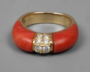 Ladies ring with diamonds and coral