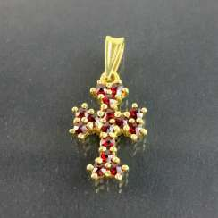 Cross pendant with garnet, silver 925, gold plated, very nice.