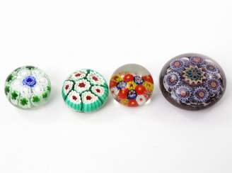 MILLEFIORI mixed lot 4pcs paperweight (Paperweights)., 20.Century