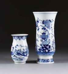 TWO MEISSEN VASES WITH BLUE PAINTING