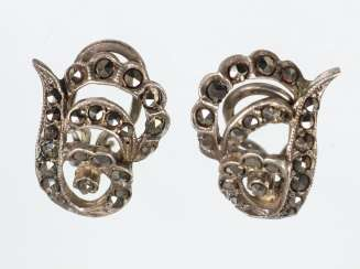 Silver marcasite clip earrings