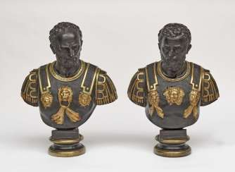 A pair of imperator busts, after antiquity