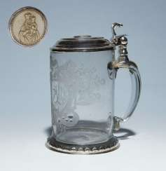 Wedding tankard with silver-mount.