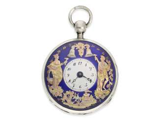 Pocket watch: large and superb Percussion pocket watch with 3-colored, exceptionally gorgeous figure automaton Jacquemart, CA. 1820