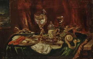 Sumptuous still life with Nautilus Cup and Lobster , Kunz, Ludwig Adam, 1857, Vienna - 1929 Munich