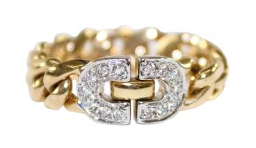 Chain ring diamond 585 yellow gold.