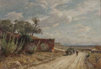Max Wilhelm Roman, Italian landscape with a peasant couple and a wagon