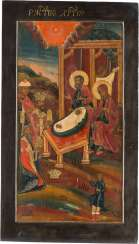 LARGE-FORMAT ICON WITH THE ADORATION OF THE MAGI, FROM A CHURCH ICONOSTASIS