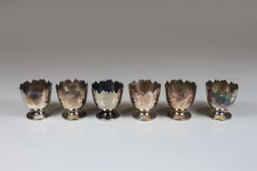 Six Egg Cups, Sterling Silver 925