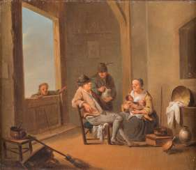 MAID WITH CHILD AND TWO FARMERS IN THE PARLOR