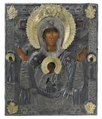 Large signed icon of the mother of God of the sign with Silberoklad