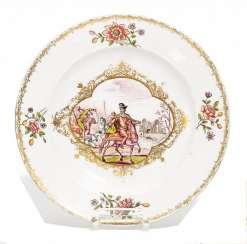 DISH HUSSARS BATTLE. Meissen. Around 1750/60. Painter, decor, Franz Ferdinand Mayer, Preßnitz attributed.