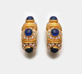 Pair of sapphire clip-on earrings from BVLGARI