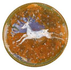 Large Studio ceramic plate with a white deer