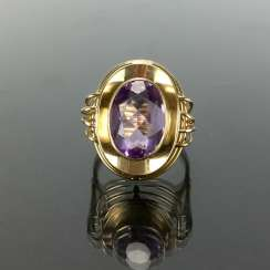 Dear ladies see the ring, with Amethyst. Yellow gold 585. Hand-work.