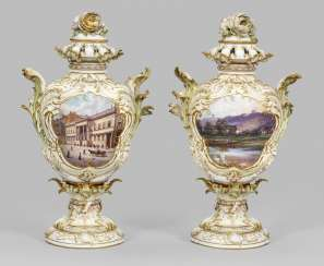 Pair of large Rococo potpourri vases with Berlin's view