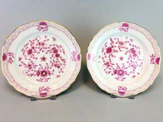 Two Plates: Meissen Porcelain. Indian purple painting rich with Gold.