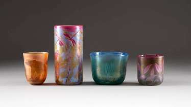 SET OF FOUR GLASS OBJECTS. Design: Germany, glass manufactory Schmid, 1990s