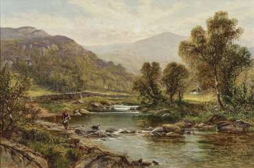 Alfred Augustus Glendenning - Peasant woman with dog on the river bank - river landscape