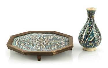 Iznik style vase and tray with tiles