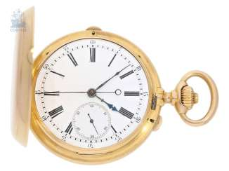 Pocket watch: very fine, early, and heavy, gold savonnette with independent, anhaltbarer second, and